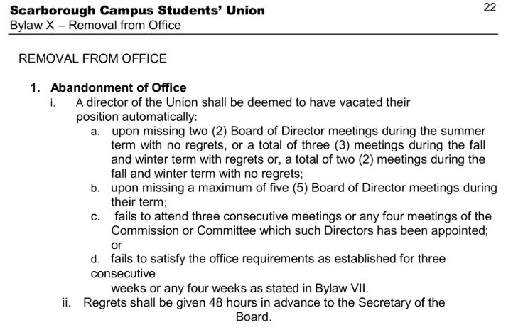 Above is an expert from the SCSU Bylaws outlining conditions under which Board Members can be ousted from their position.