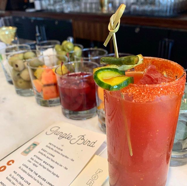We may not have brunch (yet), but we have Bloody Marys - open from 3 pm on #cheers #chelseany #junglebird #bloodymary #brunch #sundayvibes #sundayfunday