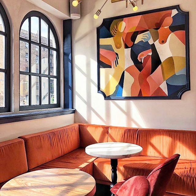 We're honored to have work by the hugely talented @jessalynbrooks adorning our walls -both in the main bar and in our upstairs Canopy Room (shown here) 📸: @jessalynbrooks . . . #chelseany #interiordesign #design