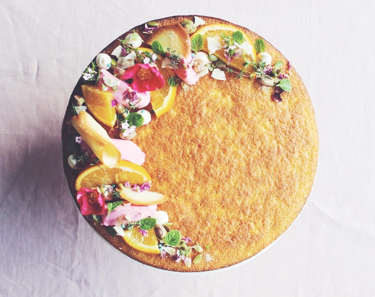 Orange Semolina Cake with Cardamon Honey Syrup
