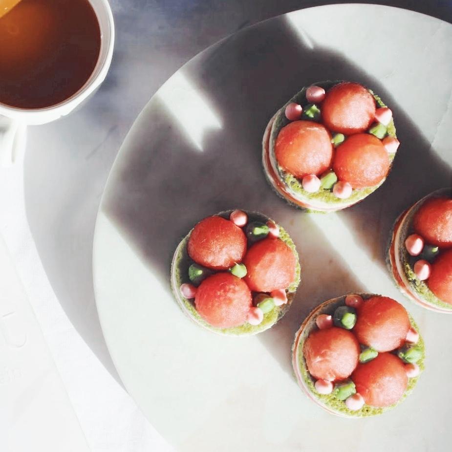Mini Green Tea Sponge and Watermelon Cake