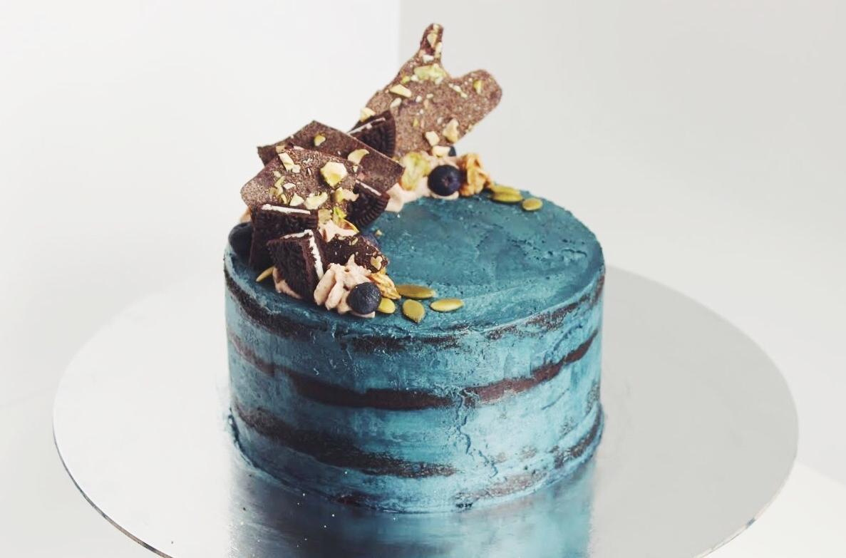 "6"" Chocolate Layer Cake with Milk Chocolate Ganache and Chocolate Mascarpone Cream"