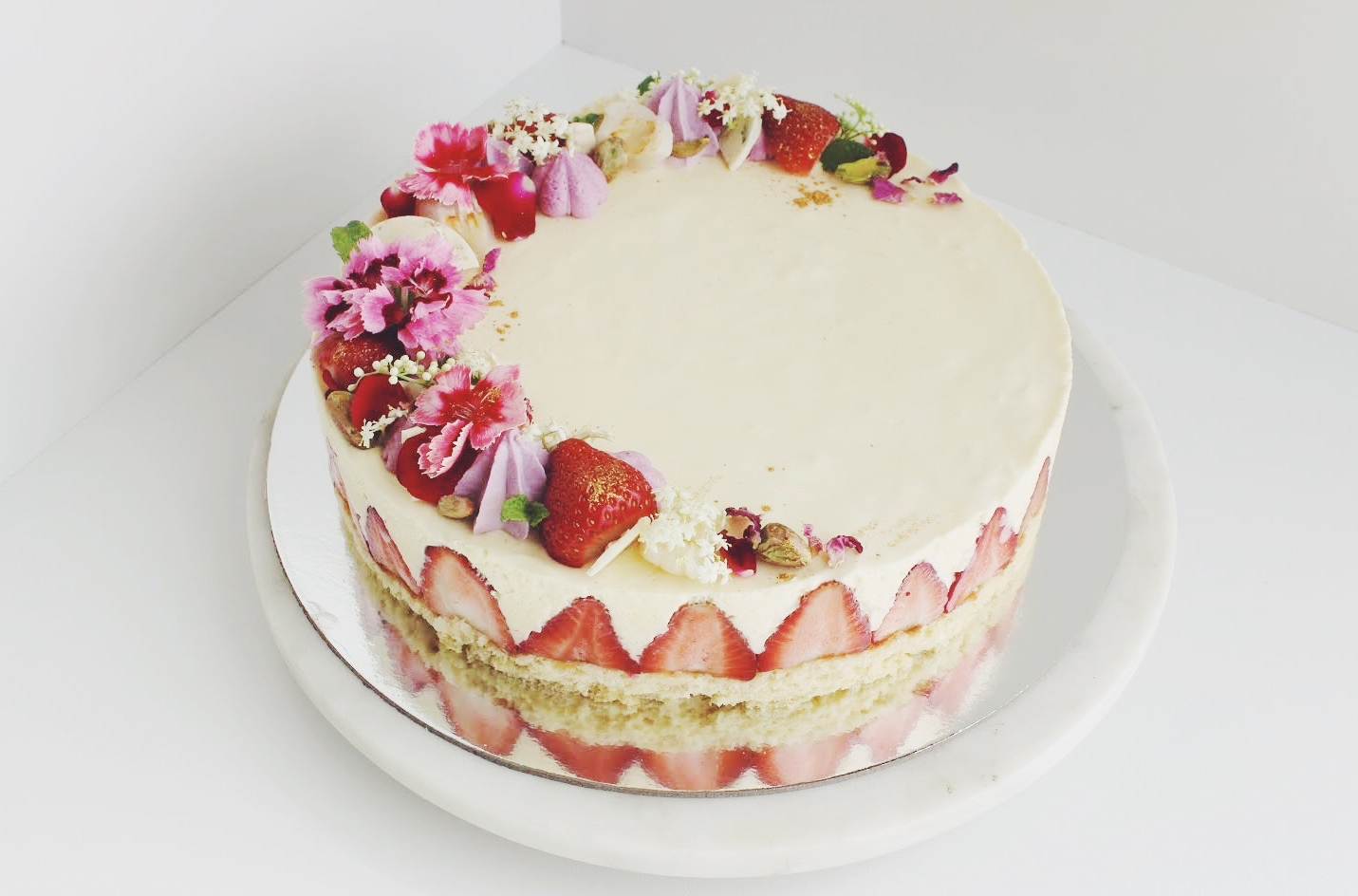 Strawberry Fraisier Cake w/ White Chocolate Mousse and Raspberry Jelly