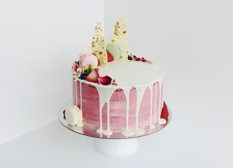 Chocolate and Vanilla Marble Cake w/ Mascarpone Cream & White Chocolate Drip
