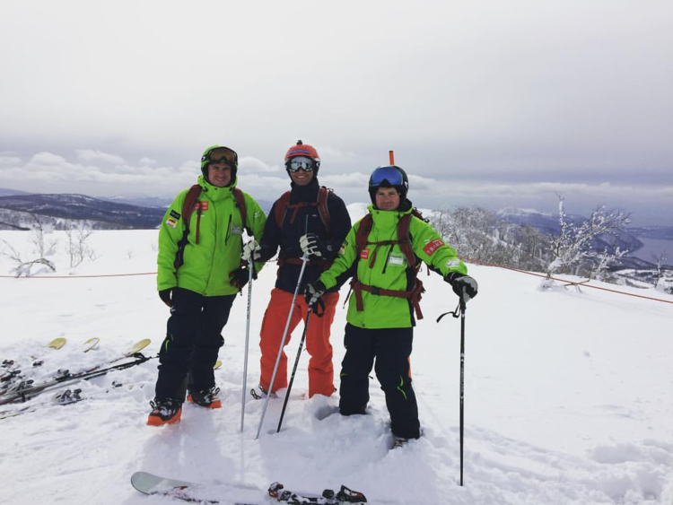 Founder, Michael Stocker, skiing with Paul Hanlon and Peter Richer.