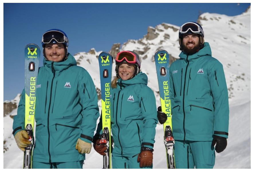 The AlpineMojo team, Oli Partrick (far left), Sega Fairweather (middle), and Eliott Gates, Ski School Director (far right).