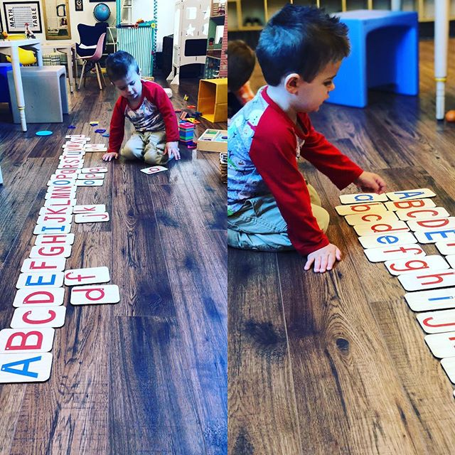 So impressed with one our two-year-olds who upon discovering our sandpaper letters was able to put them in order, match the lower case letters, and even make the letter sounds. #earlyreaders #preschoolactivities
