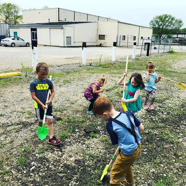 We broke ground today on our future outdoor play space and kids' garden with the help of our preschoolers and Miss Katie, our in-house Purdue Master Gardener, using our new garden tools from @aldiusa #preschoolactivities #outdoorplay #kidsgarden
