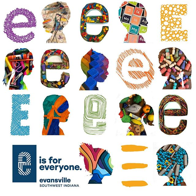 We are so excited to unveil the first installment of our #eisforeveryone series of graphics featuring silhouettes of our kids superimposed with images of their favorite toys, supplies, and art projects at #brainchildcreations - there are also three e's that the kids made using sentence strips and later filled with toys and #looseparts #creativekids