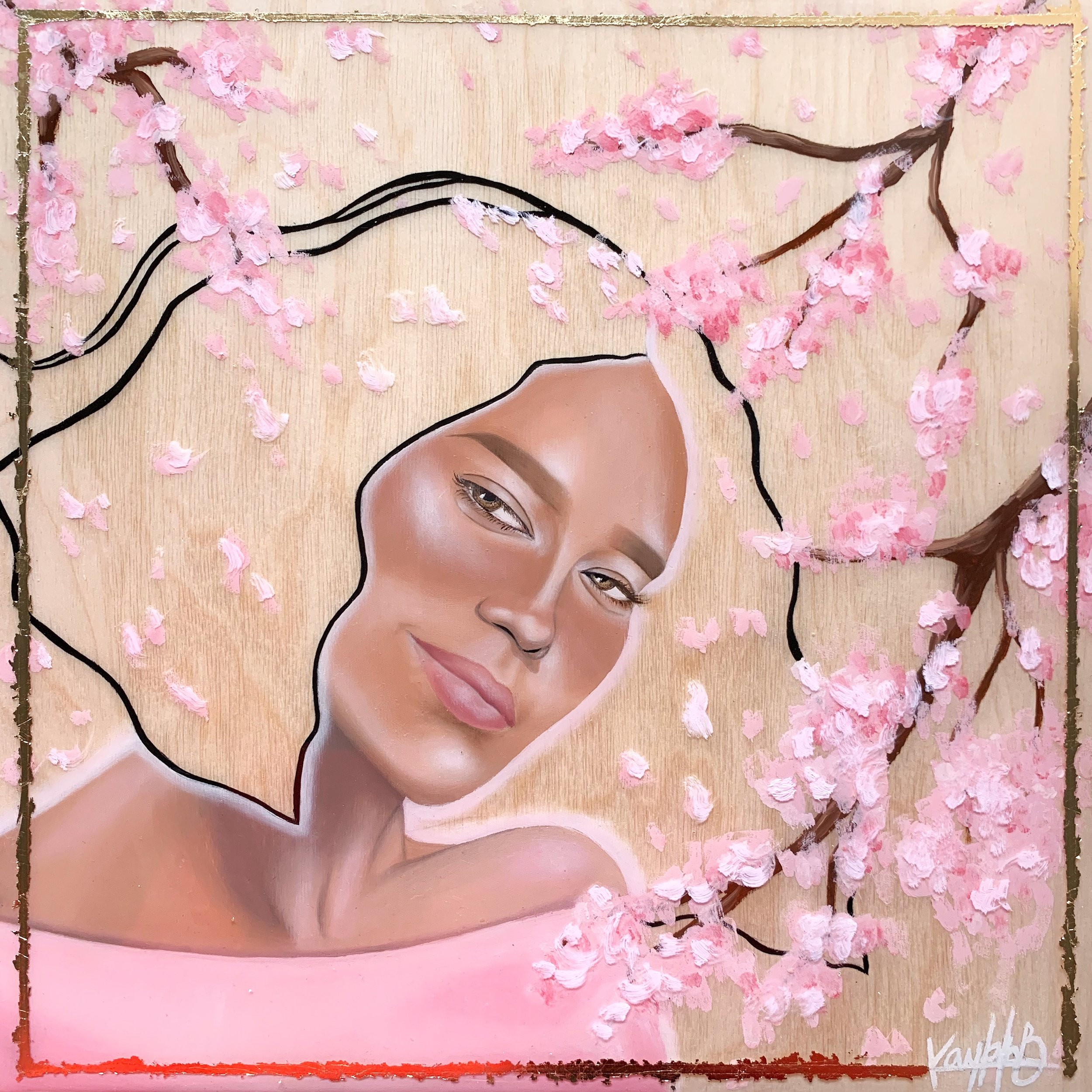 Sakura - Oils, mixed media and resin on panel.12x12 inches2019$350For inquiries, please send an e-mail to kayanhbennett@gmail.com