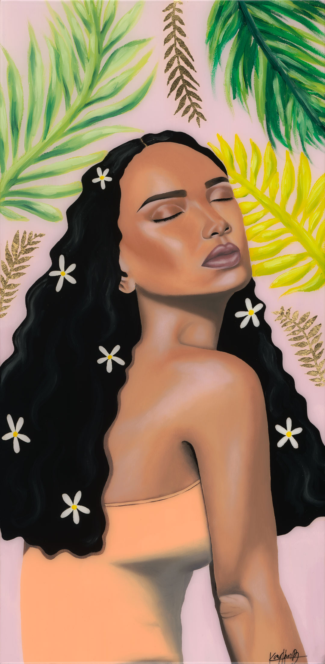 Leilani - Oils, Mixed media, Resin on PanelFramed12x24 in2018$625For inquiries, please send an e-mail to kayanhbennett@gmail.com