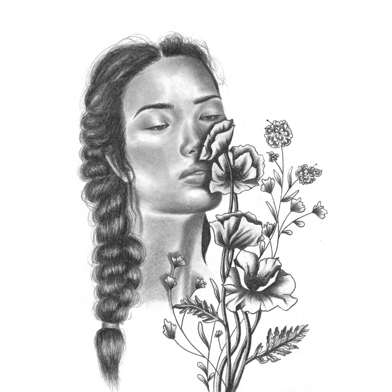 flower girl - 8x10Graphite on paper2018
