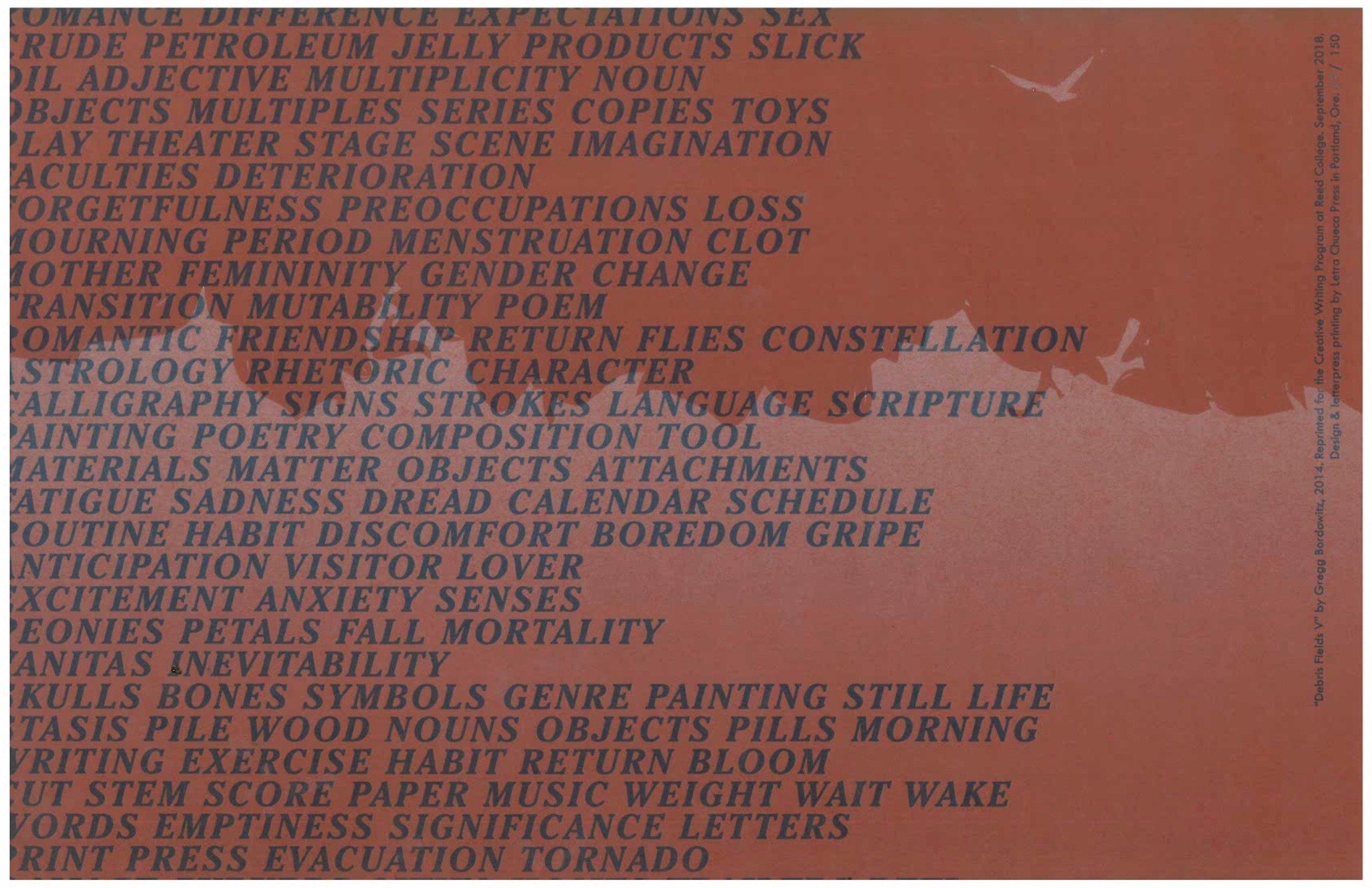 "Broadside featuring Gregg Bordowitz's ""Debris Field V."" Design and letterpress printing by Letra Chueca Press."