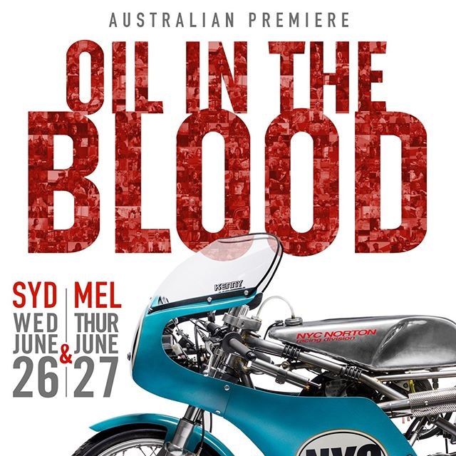 Come join us at the Aussie Premier of the 'Oil In The Blood' film. Meet the Director Gareth Roberts and custom bike builder Craig Rodsmith and be in the draw to win some great prizes! See it in Sydney at the Dendy Newtown on June 26th and in Melbourne on the 27th at the Westgarth Northcote. Tickets available at www.eventbrite.com.au