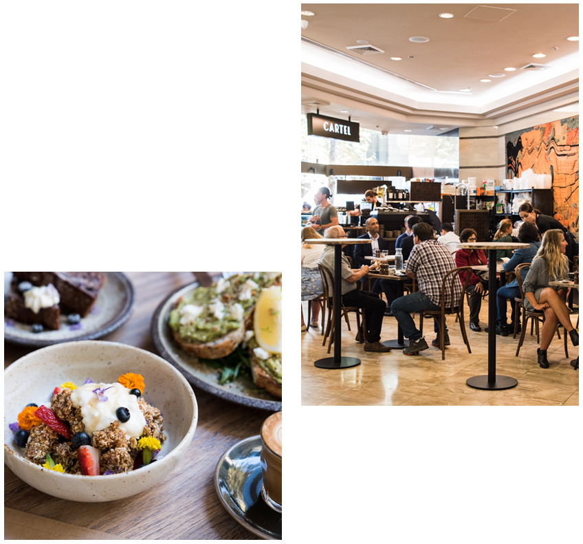 Located in the heart of Martin Place, Caffeine Cartel offers a unique & central located space for exclusive use functions. - QUICK FACTSCapacity Up to 60 guests Style Cocktail Style