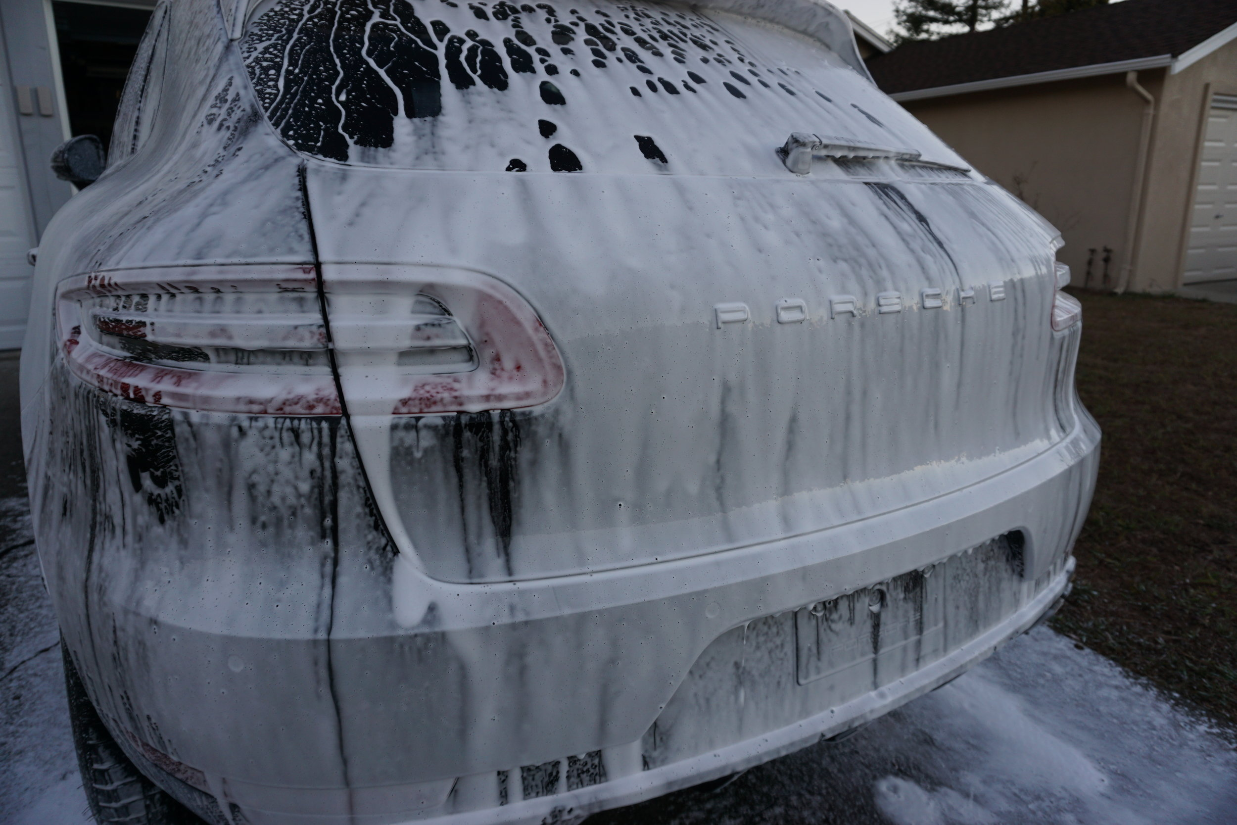 This macan turbo is playing in the snow