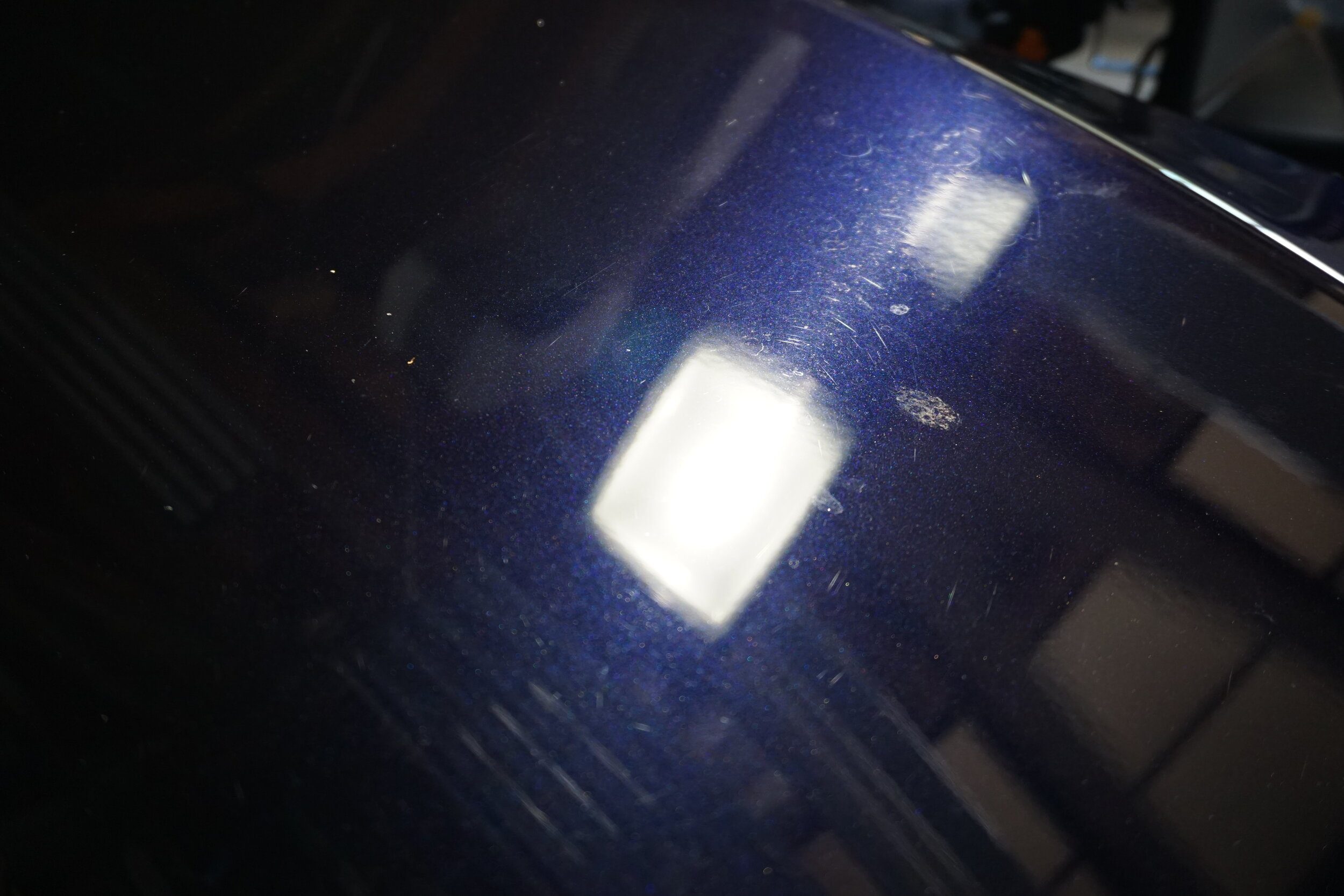 Some water spot etching and scratches all over. Hood before