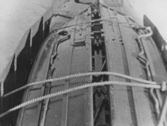 Rimau 1 Method of carrying folding boat lashed to casing of submarine .jpg