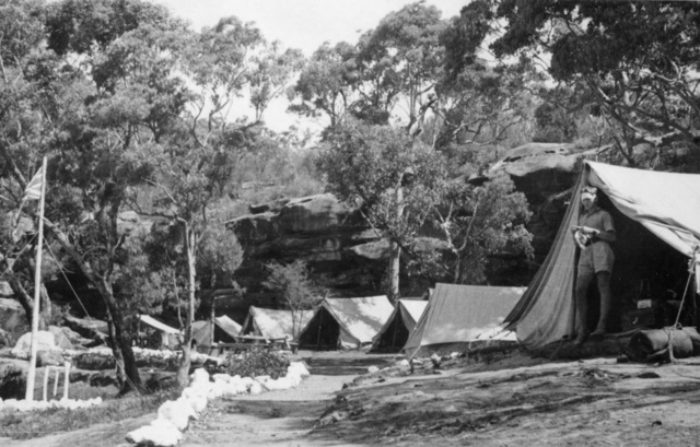 Refuge Bay, Hawkesbury River NSW c1943 01 17 Tent lines for members of Z Special Unit Australian Services Reconnaissance Department at a training camp They were preparing for Operation Jaywick in which operat.jpg
