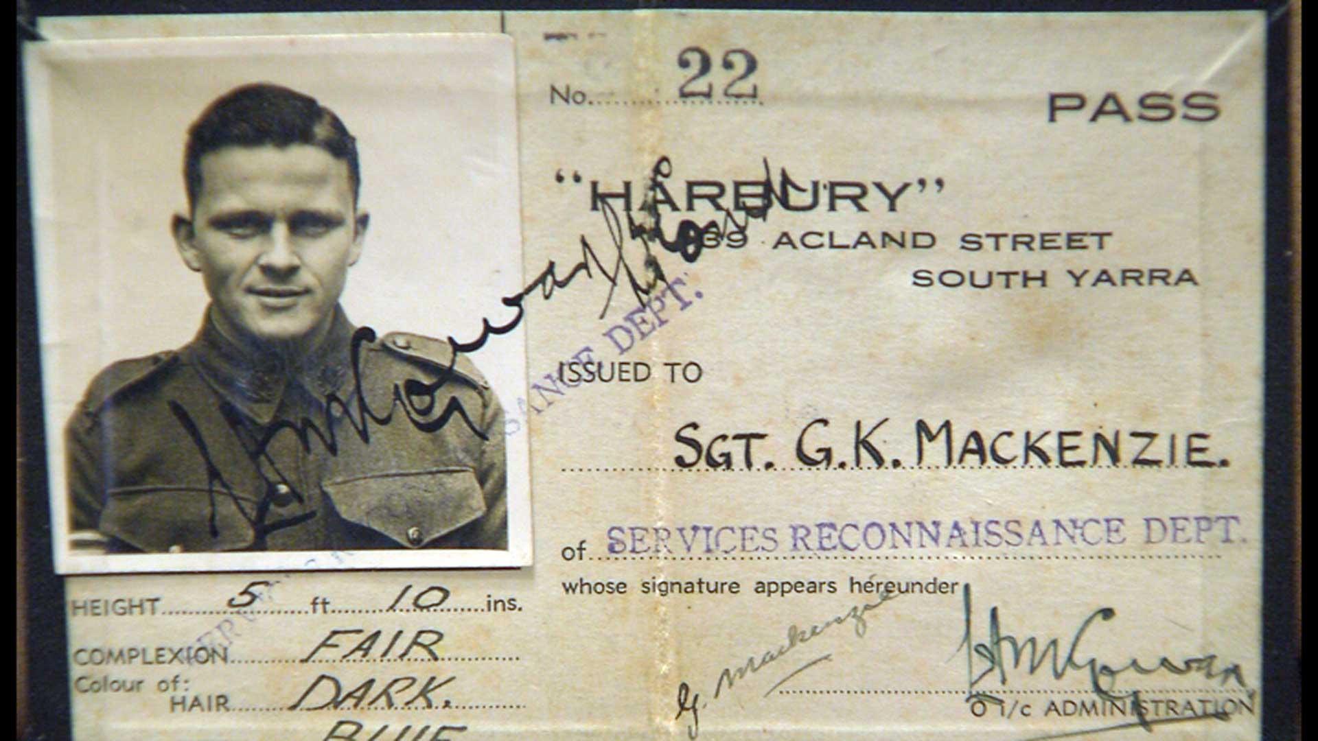 SRD HQ Pass for SRD Operative Sgt. G.K. Mackenzie