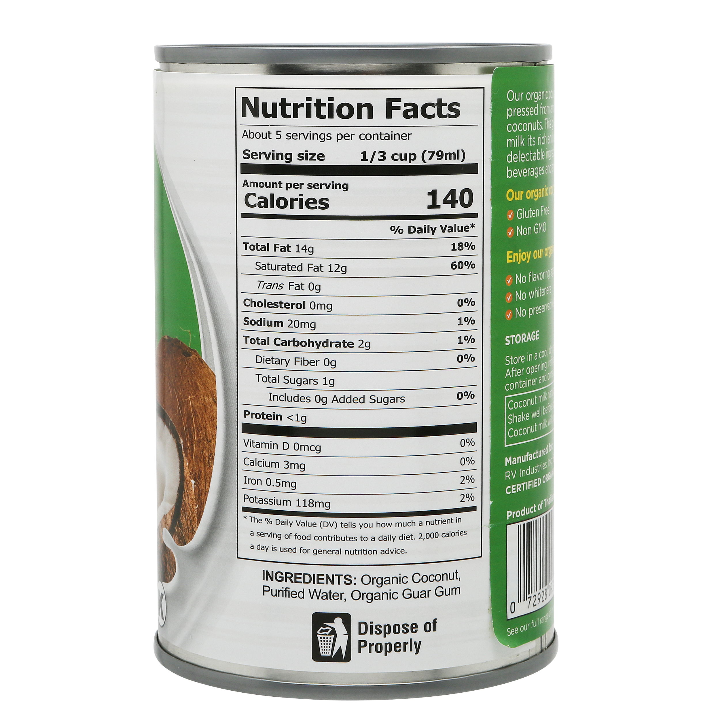 Fiesta Tropicale Organic Coconut Milk_Nutrition Facts