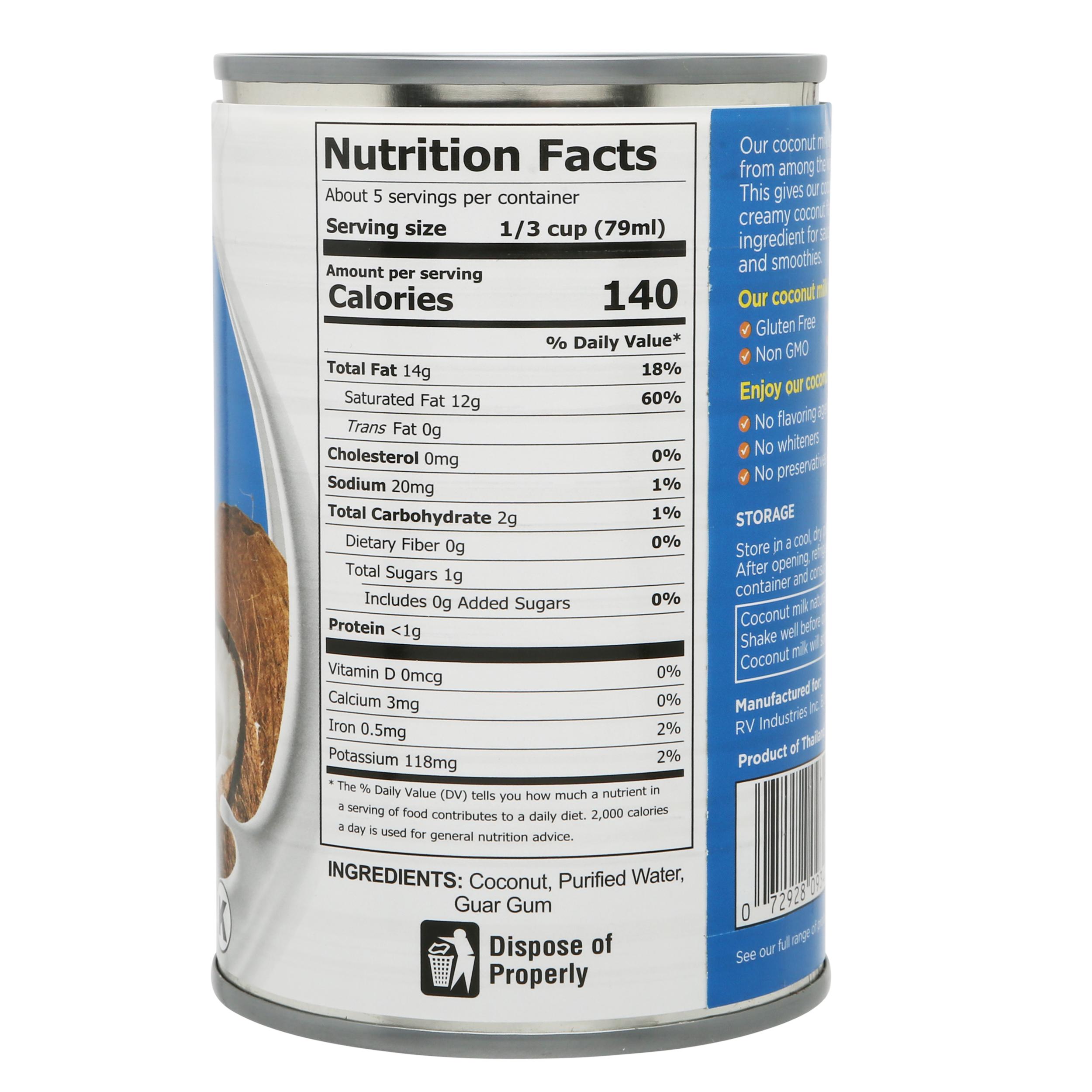 Fiesta Tropicale Natural Coconut Milk_Nutritional Info