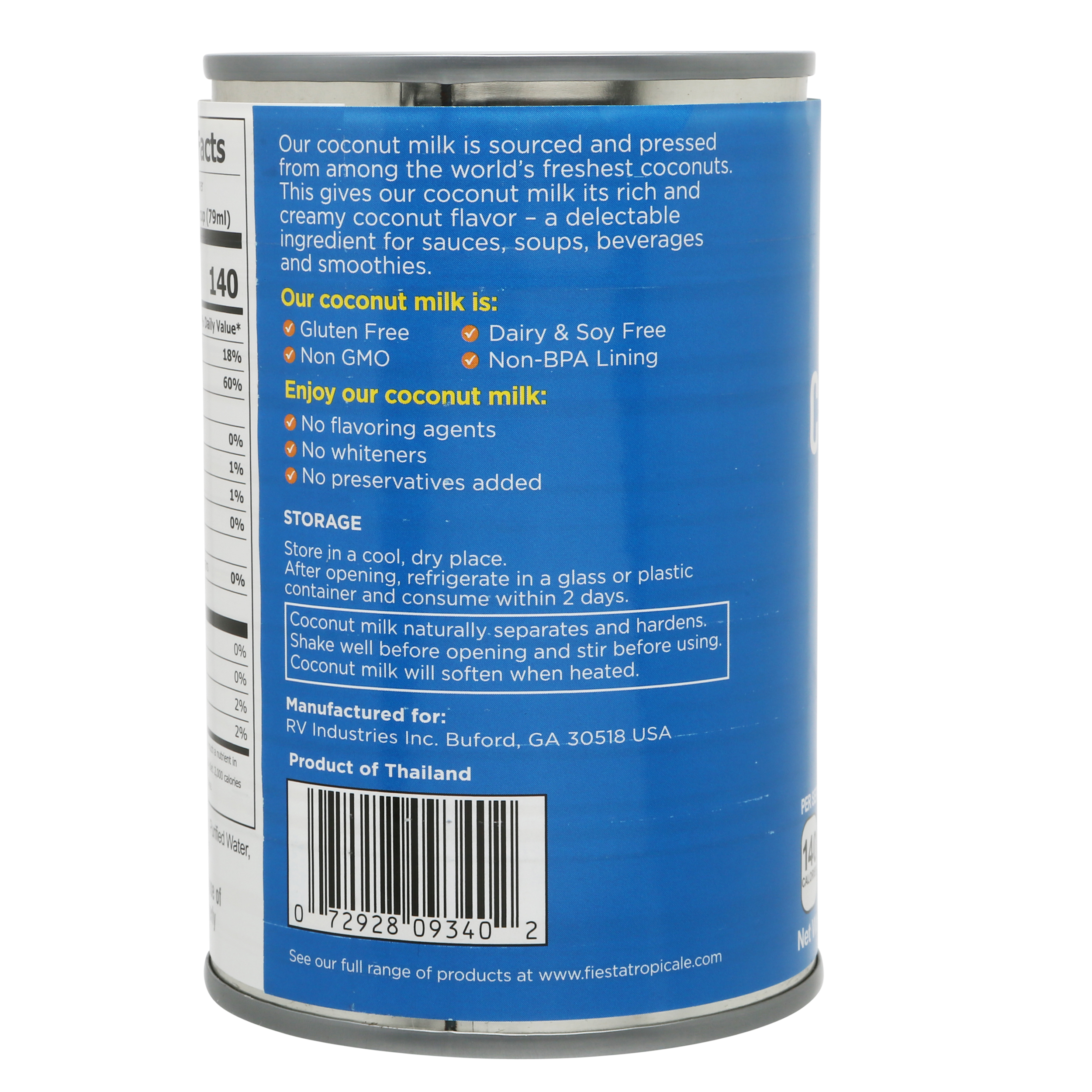 Fiesta Tropicale Coconut Milk_Back of Can