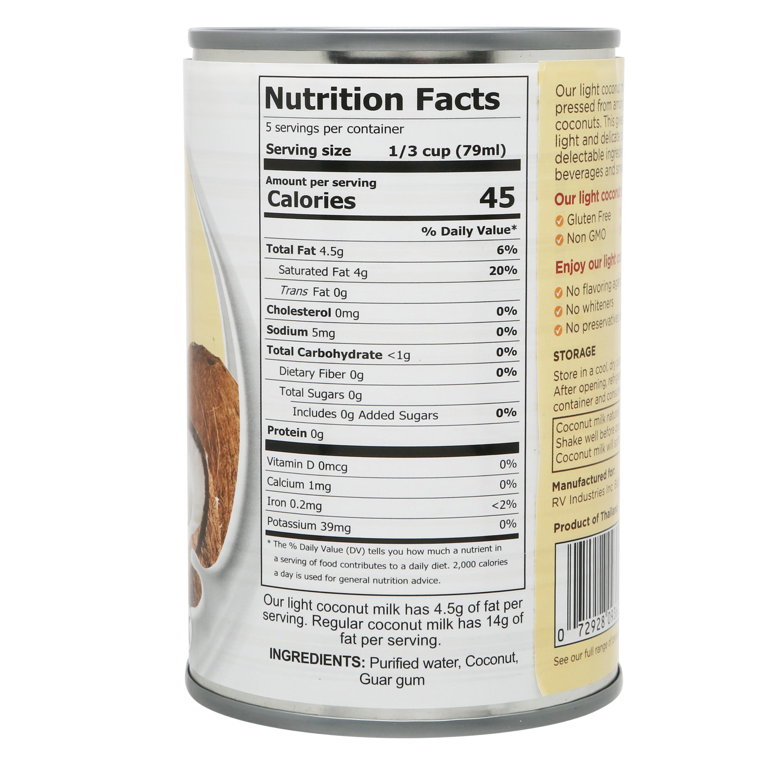 Fiesta Tropicale Light Coconut Milk_Nutritional Info