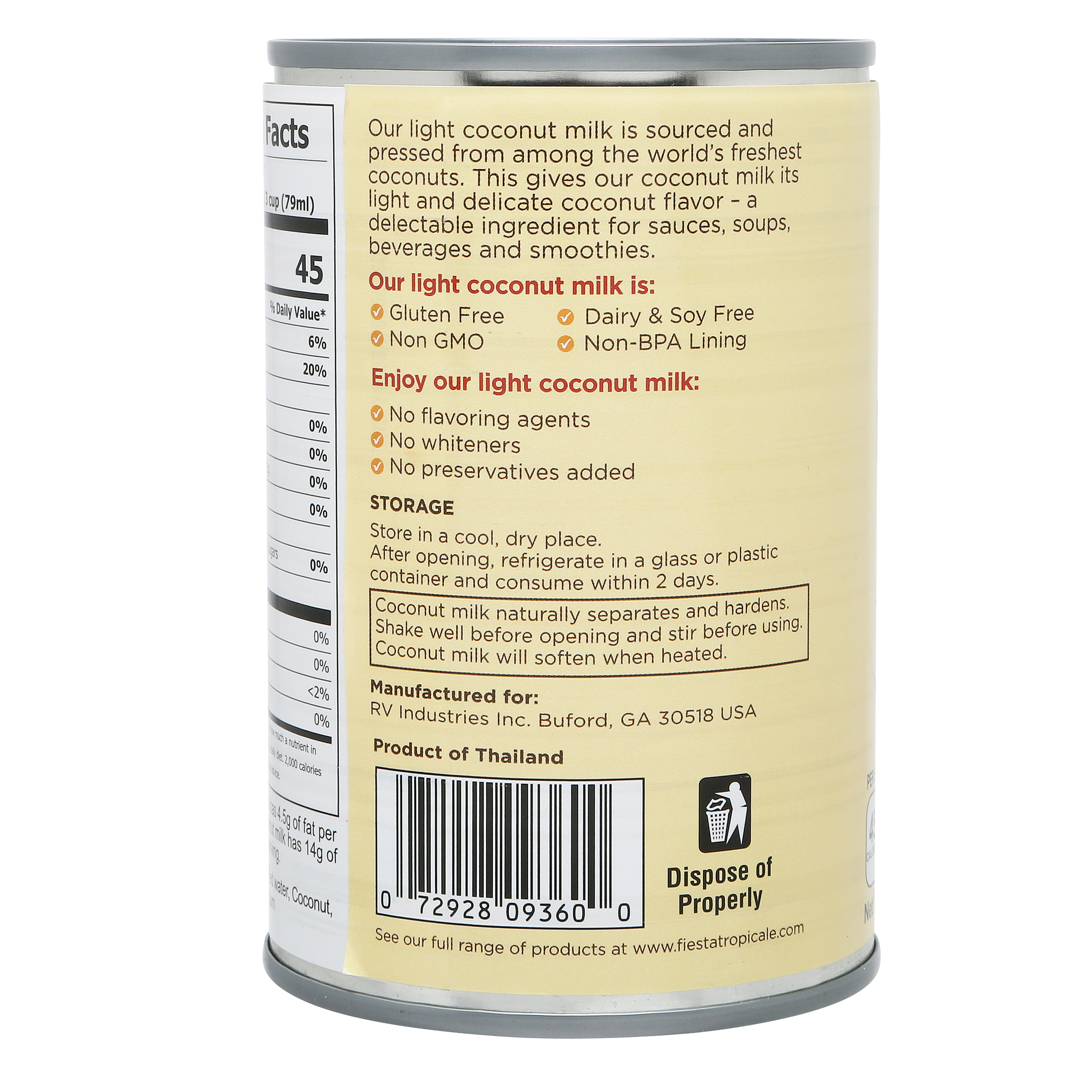 Fiesta Tropicale Light Coconut Milk_Back of Can