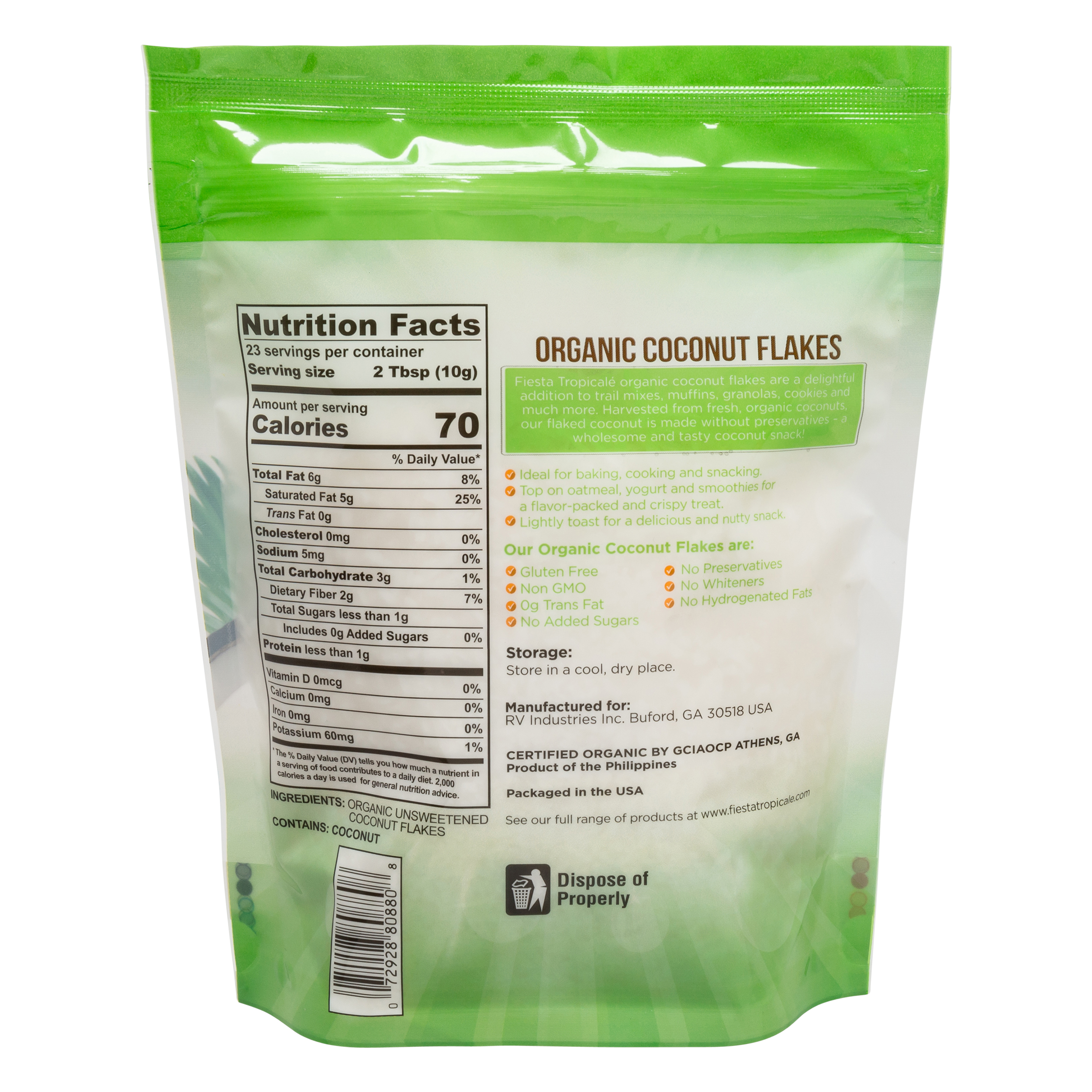Fiesta Tropicale Organic Unsweetened Coconut Flakes_Nutritional Information