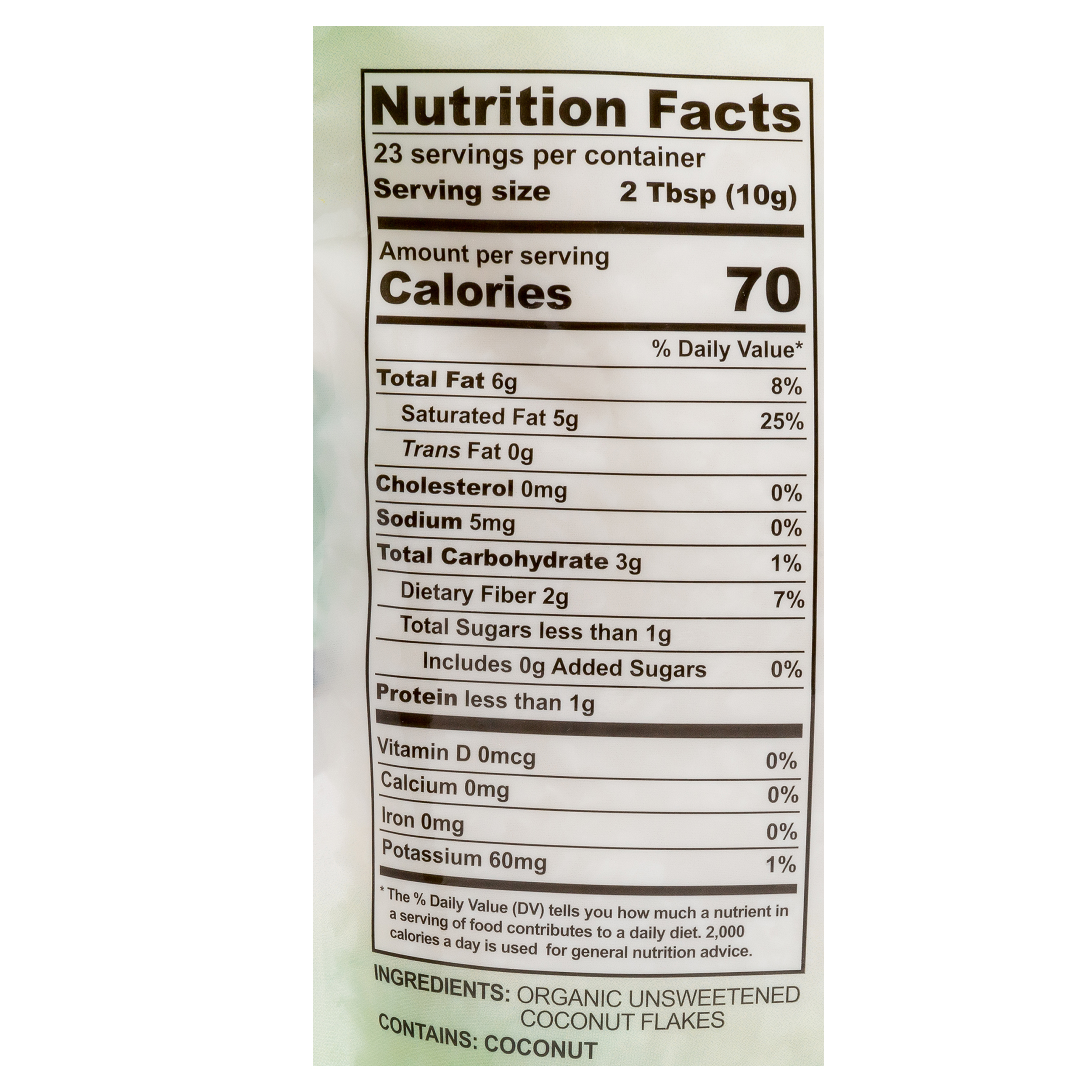 Fiesta Tropicale Organic Unsweetened Coconut Flakes_Nutritional Info Panel