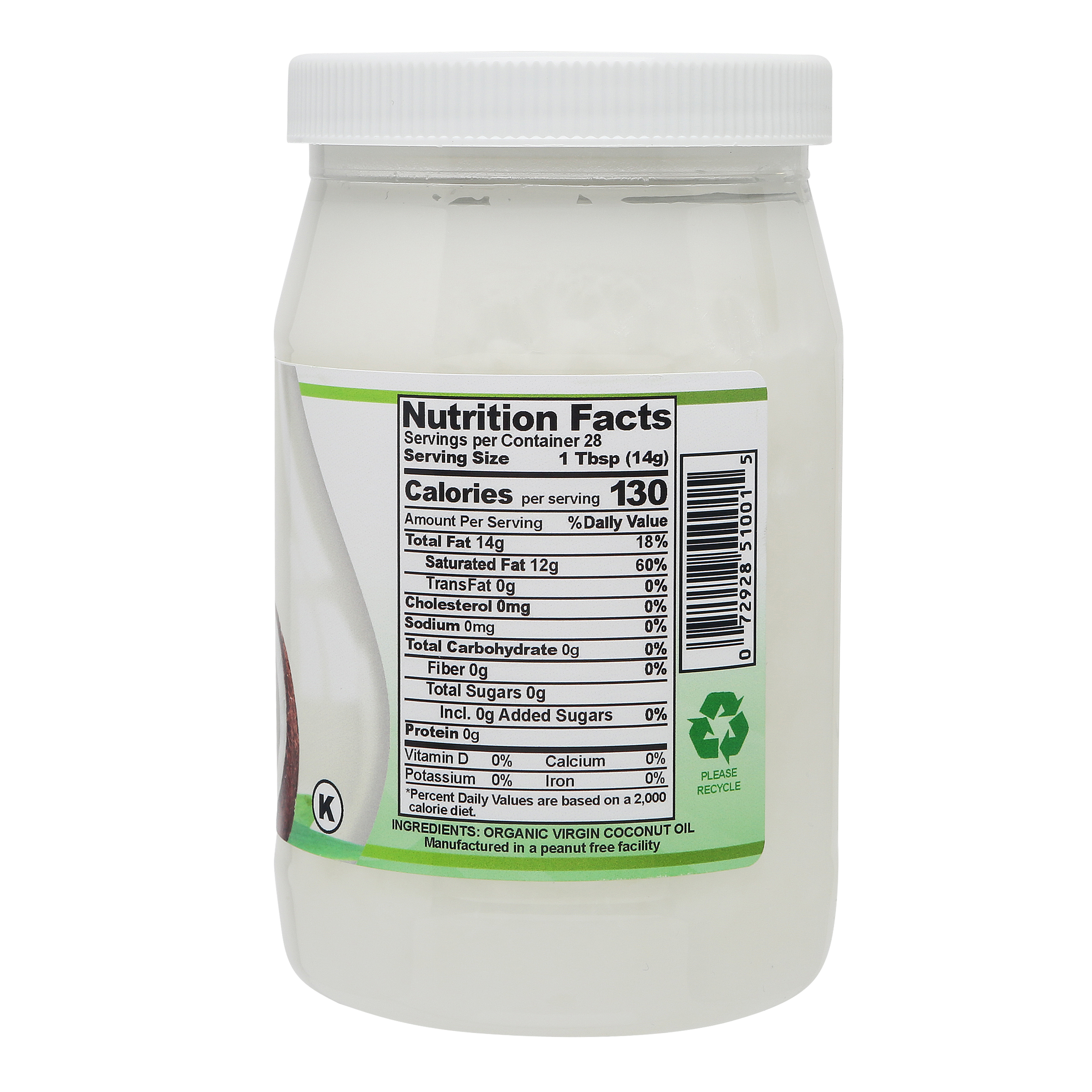 Fiesta Tropicale Organic Virgin Coconut Oil_Nutritional Information