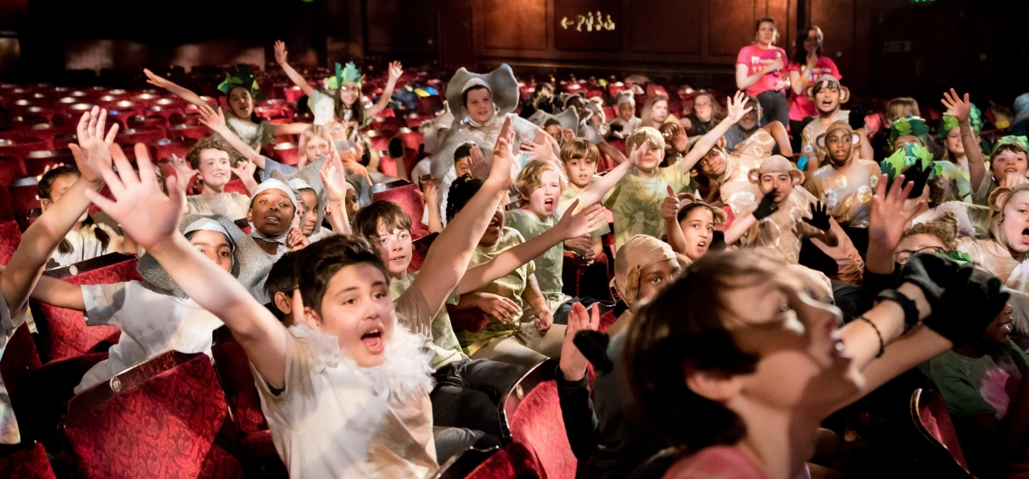 Disney Musicals in Schools - Children responding to artist on stage at The Lyceum - (c) Alex Brenner, no use without credit.jpg
