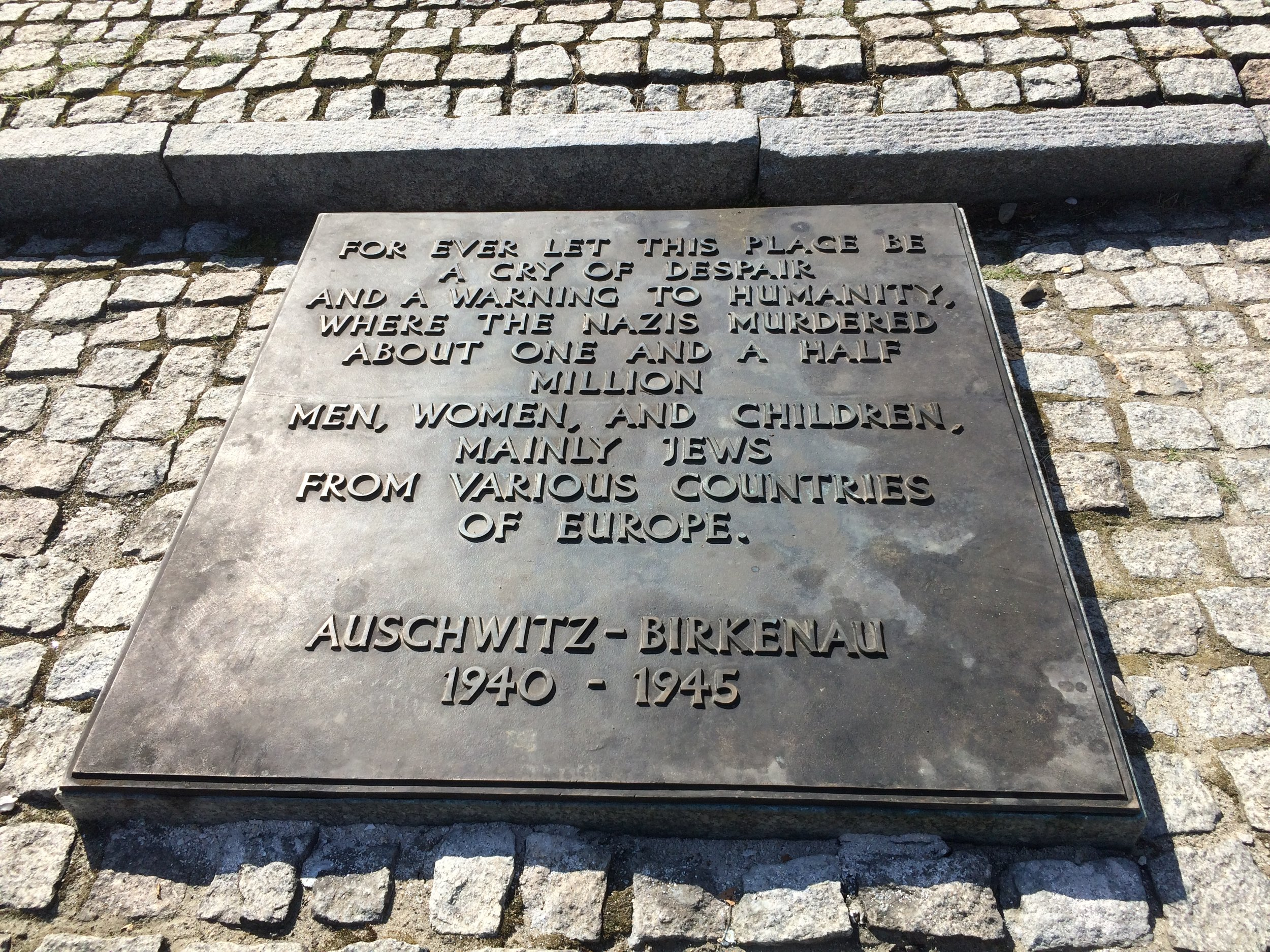 Memorial stone in Auschwitz-Birkenau. The families of a number of the boys cared for at Ascot were murdered at the extermination camp. Photo: Tim Judah.