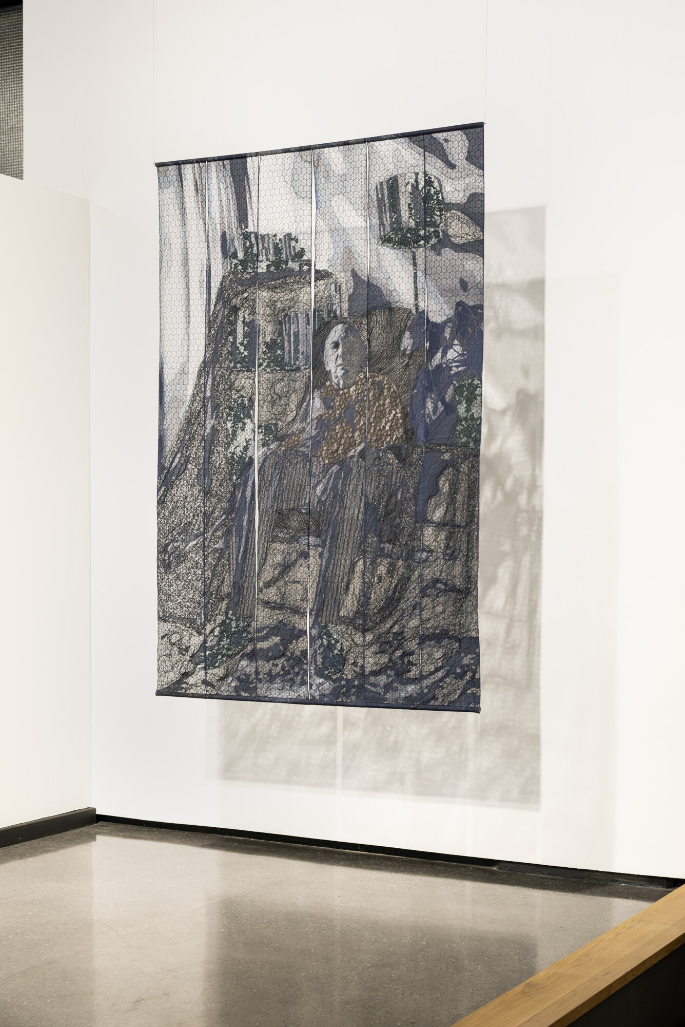 Your Young Voice (Portrait of Ivan Katzen)   Pierre Fouché  2012  Domestic sewing machine stitched lace, chiffon, tulle, fabric, acrylic thread in 6 panels