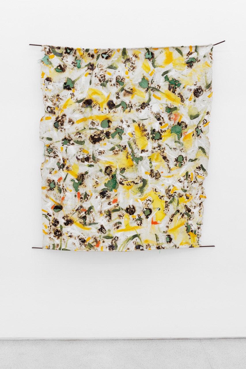 Intlazane   Asemhale Ntlonti  2019  Acrylic, potato sacks and thread on canvas