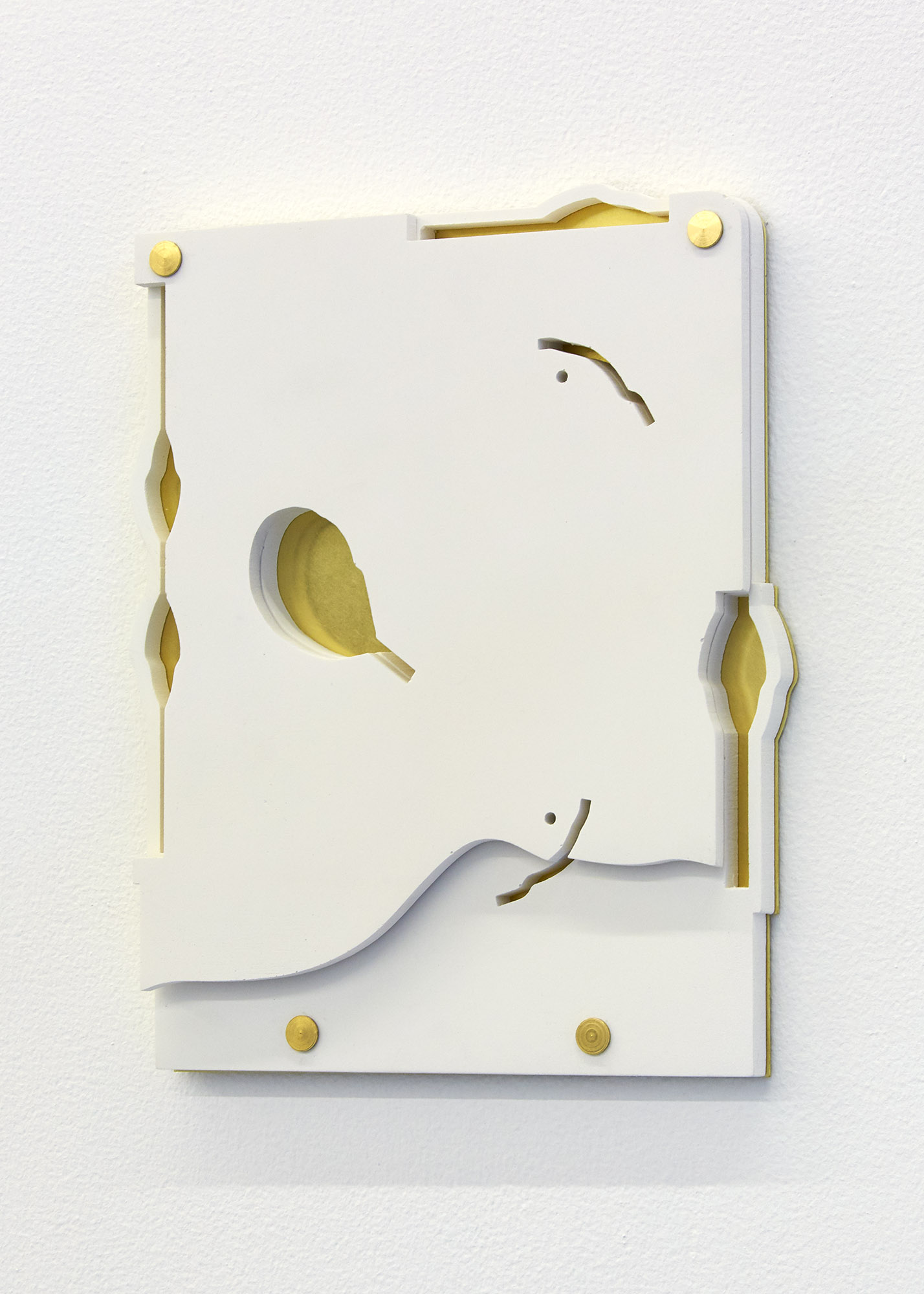 As If I Were  (white), 2018 Jesmonite & brass 21.5 x 18 x 1.8cm Edition of 5  Sold Out