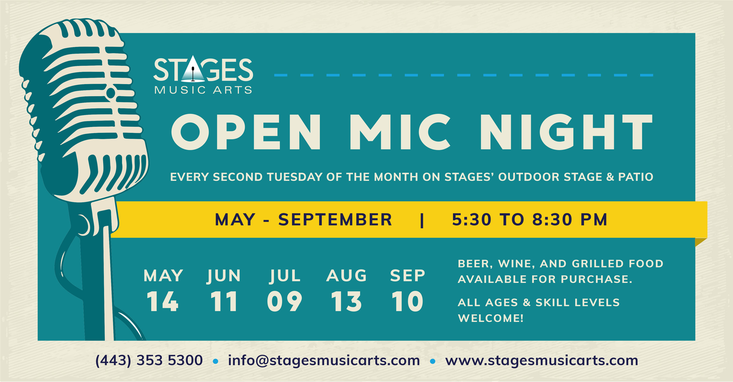 Open Mic Night Series - Join us every second Tuesday of the month May – September for an open mic on our outdoor stage and patio! Sponsored by Believe in Music, a Baltimore nonprofit dedicated to empowering youth through music education.