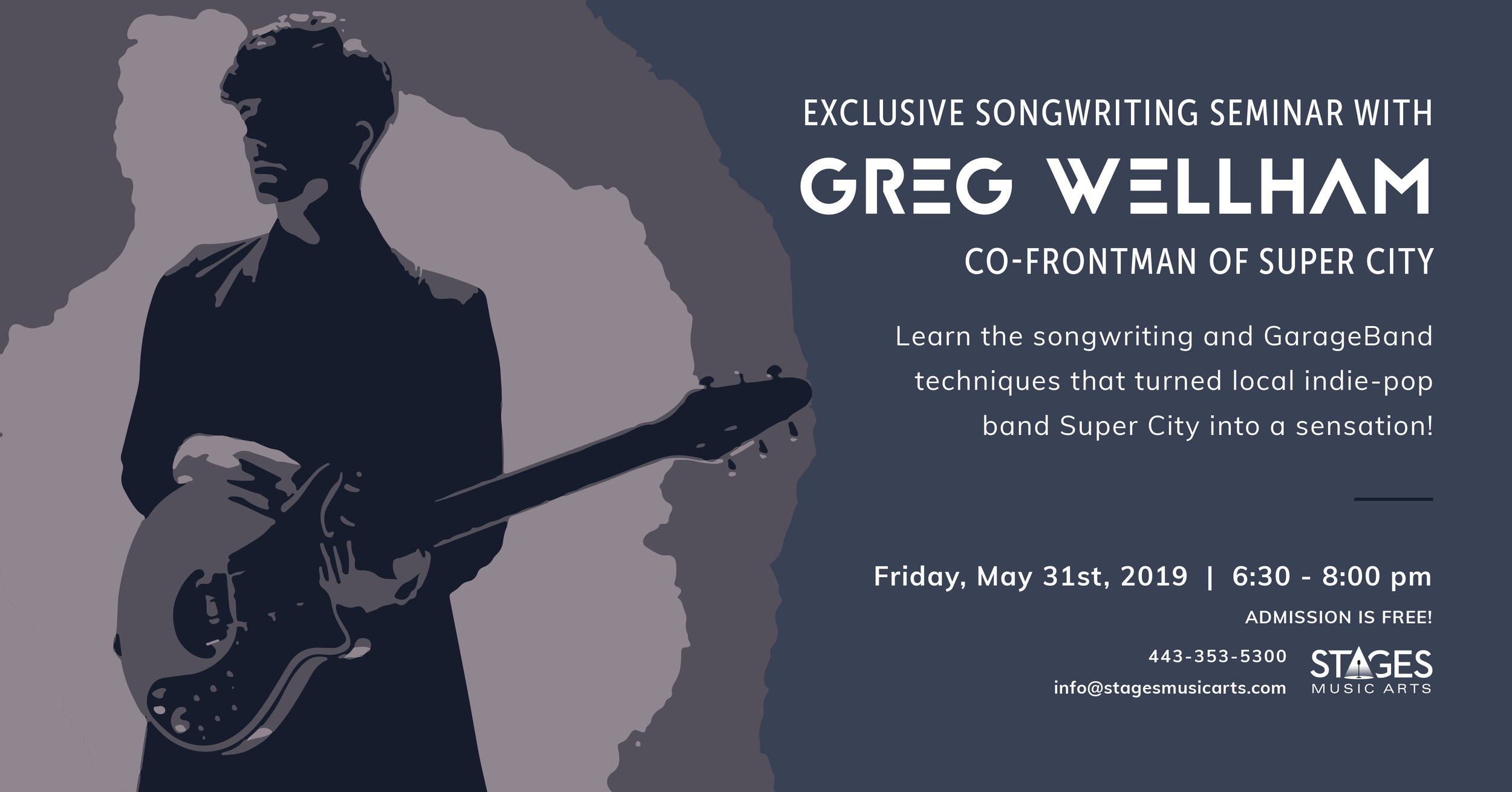 Songwriting Seminar with Greg Wellham - Friday, May 31st6:30PM – 8:00PMStages Music Arts (map)Learn the songwriting and GarageBand techniques that turned this Baltimore indie-pop band into a sensation!