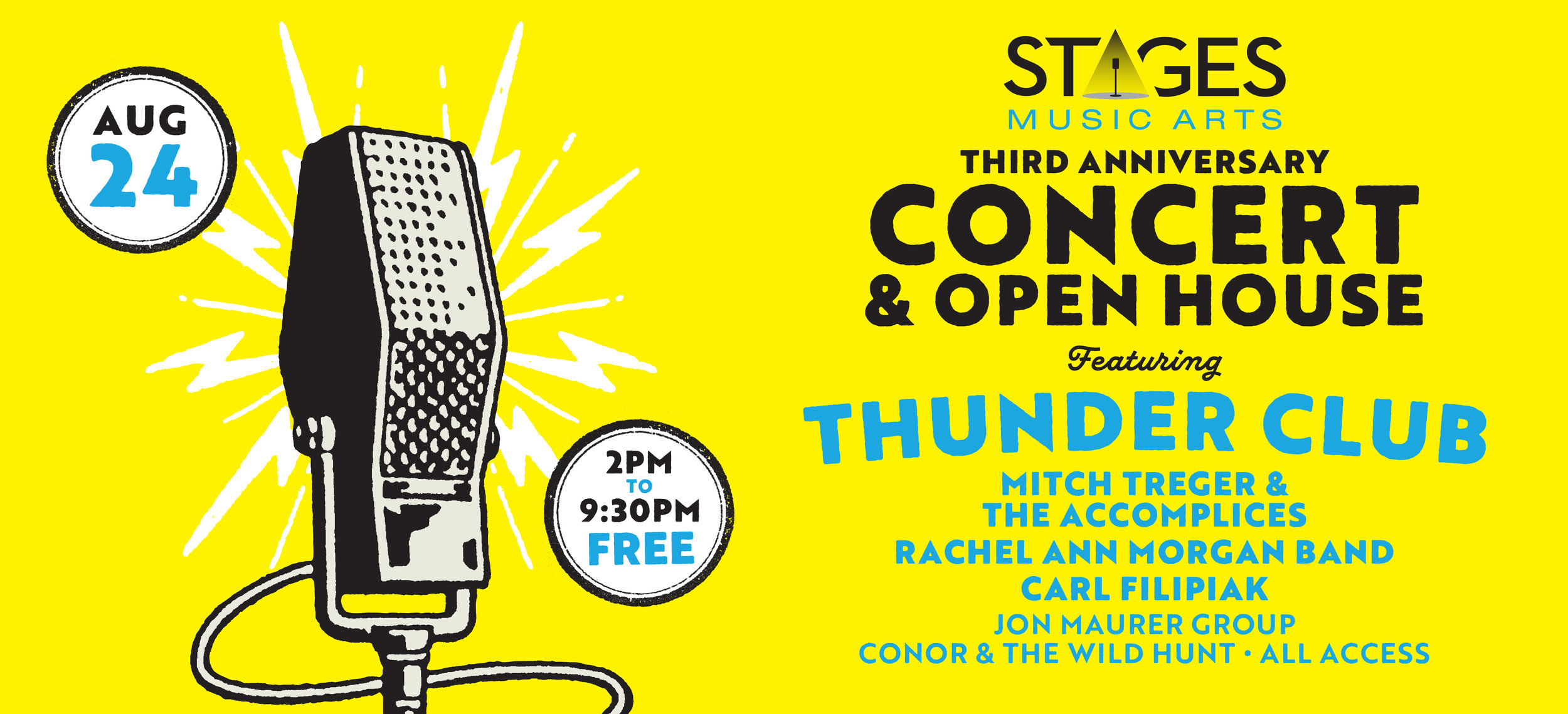 3rd Anniversary Concert & Open House - Join us as we celebrate and thank our music community for 3 rockin' years in business with a FREE concert & open house!