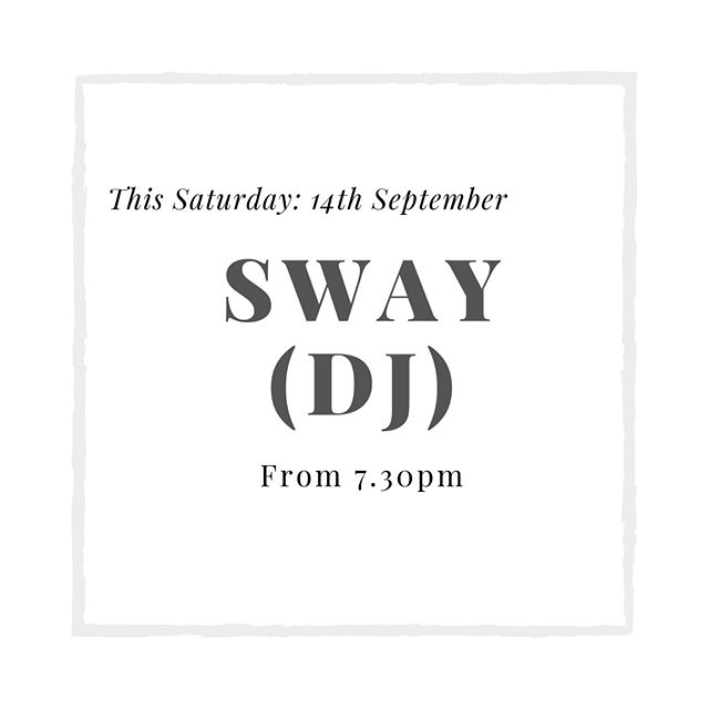 Come and join us this Saturday for Sway's balearic sounds & disco beats! Propping up our bar from 7.30pm....make sure you swing by!