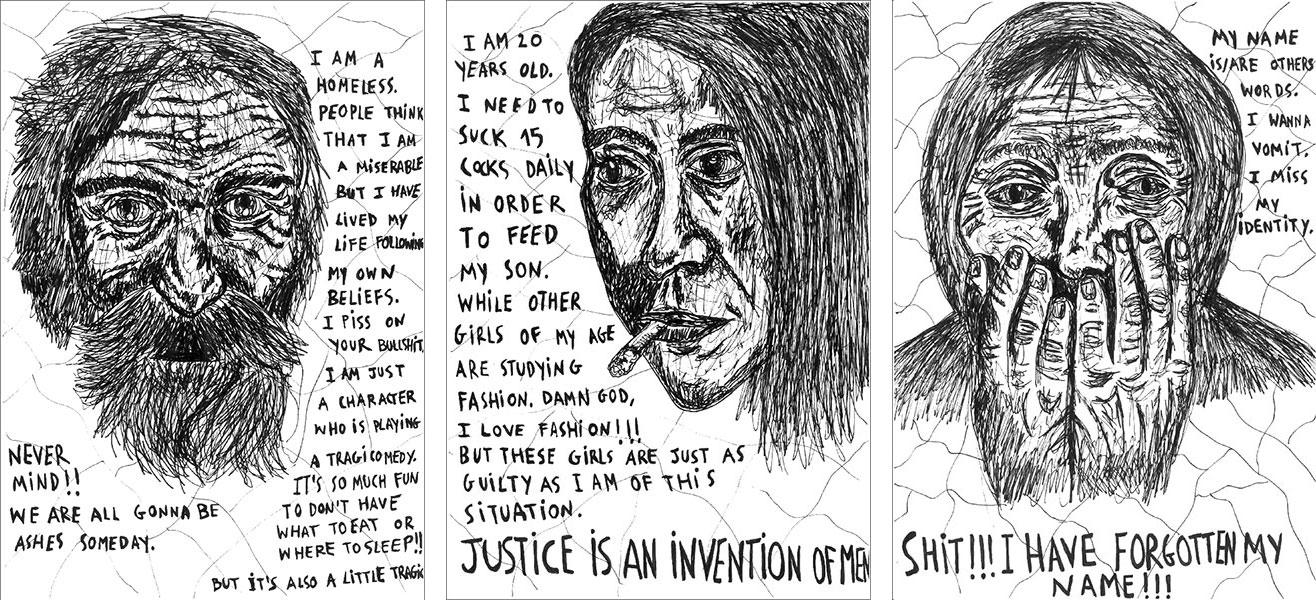 """La cara B de la ciudad 1"" ,  ""La cara B de la ciudad 2"", ""La cara B de la ciudad 3"" , 2014   Pen on paper, 21 x 29.7 cm Private Collection"