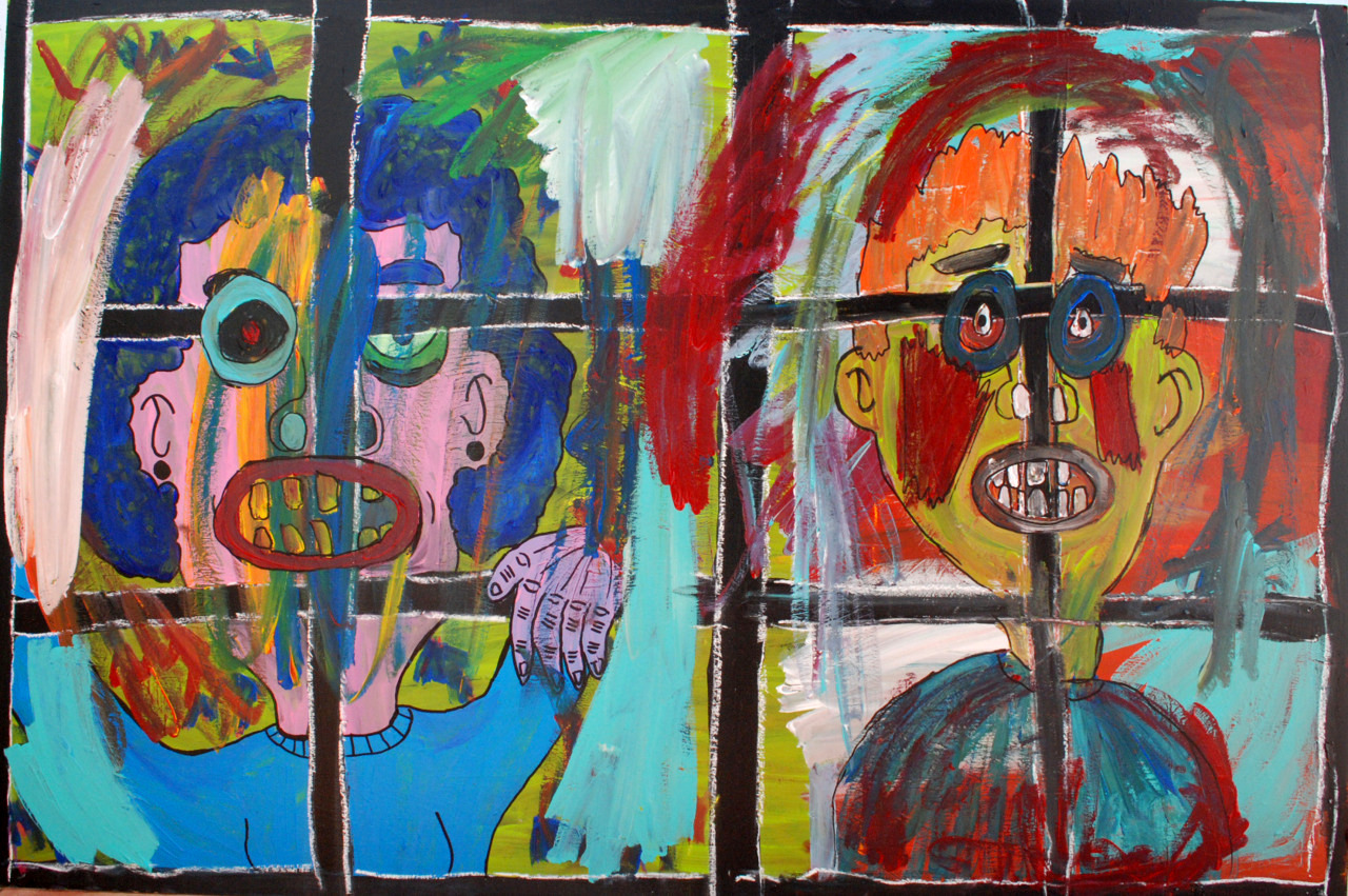 """Mood Prisions"" , 2012   Acrylic paint and pastel on wood, 130 x 90 cm"