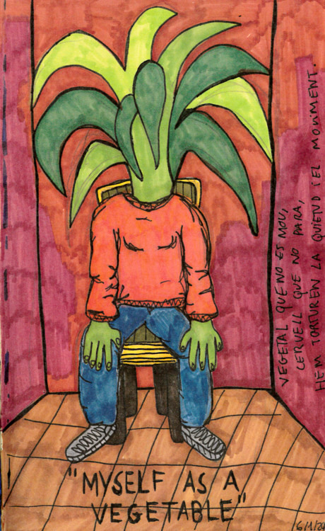 """Myself as a vegetable"" , 2012   Marker on paper, 14.8 x 21 cm"