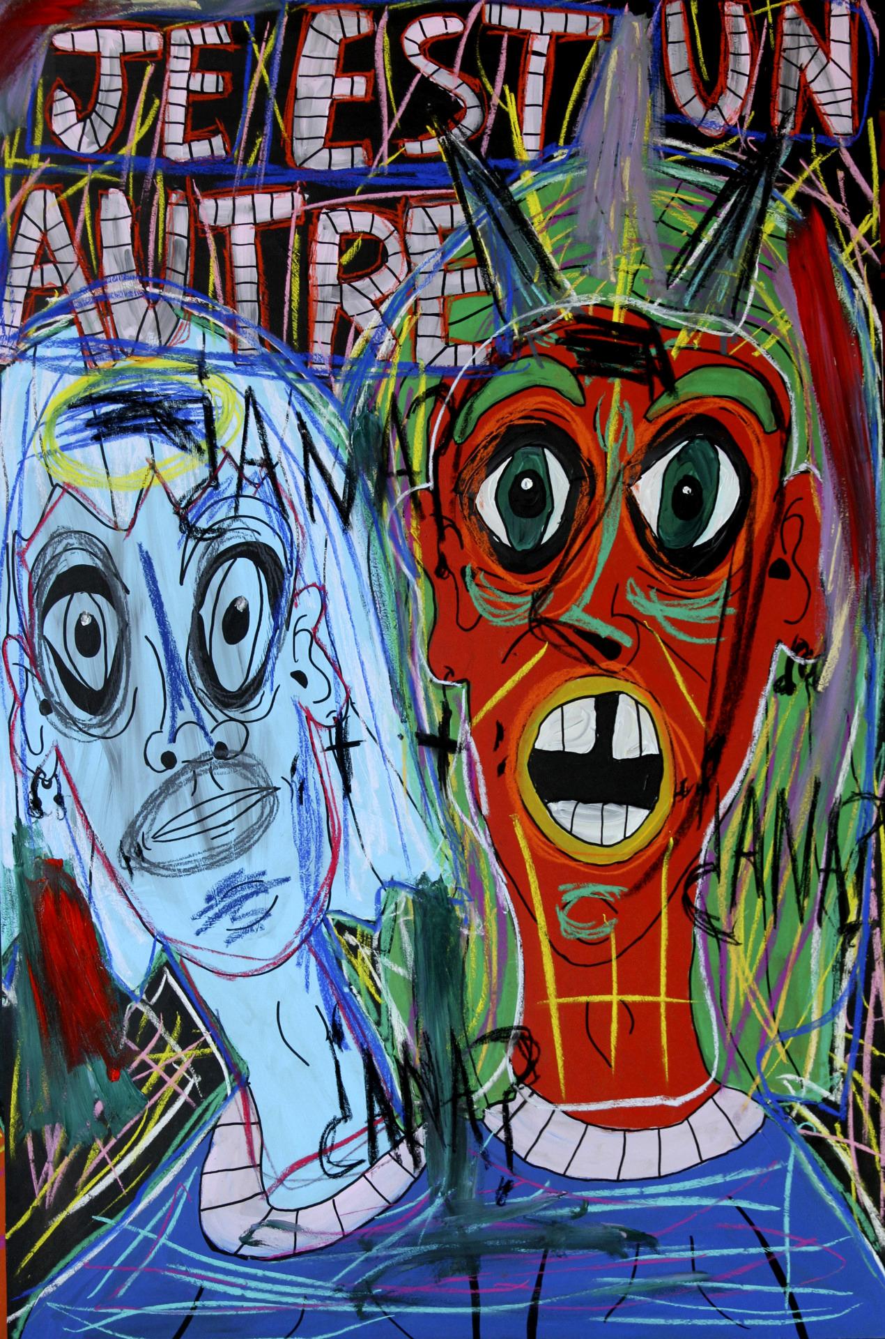 """""""Je Est Un Autre"""" , 2013   Acrylic paint and pastel on wood, 90 x 130 cm"""