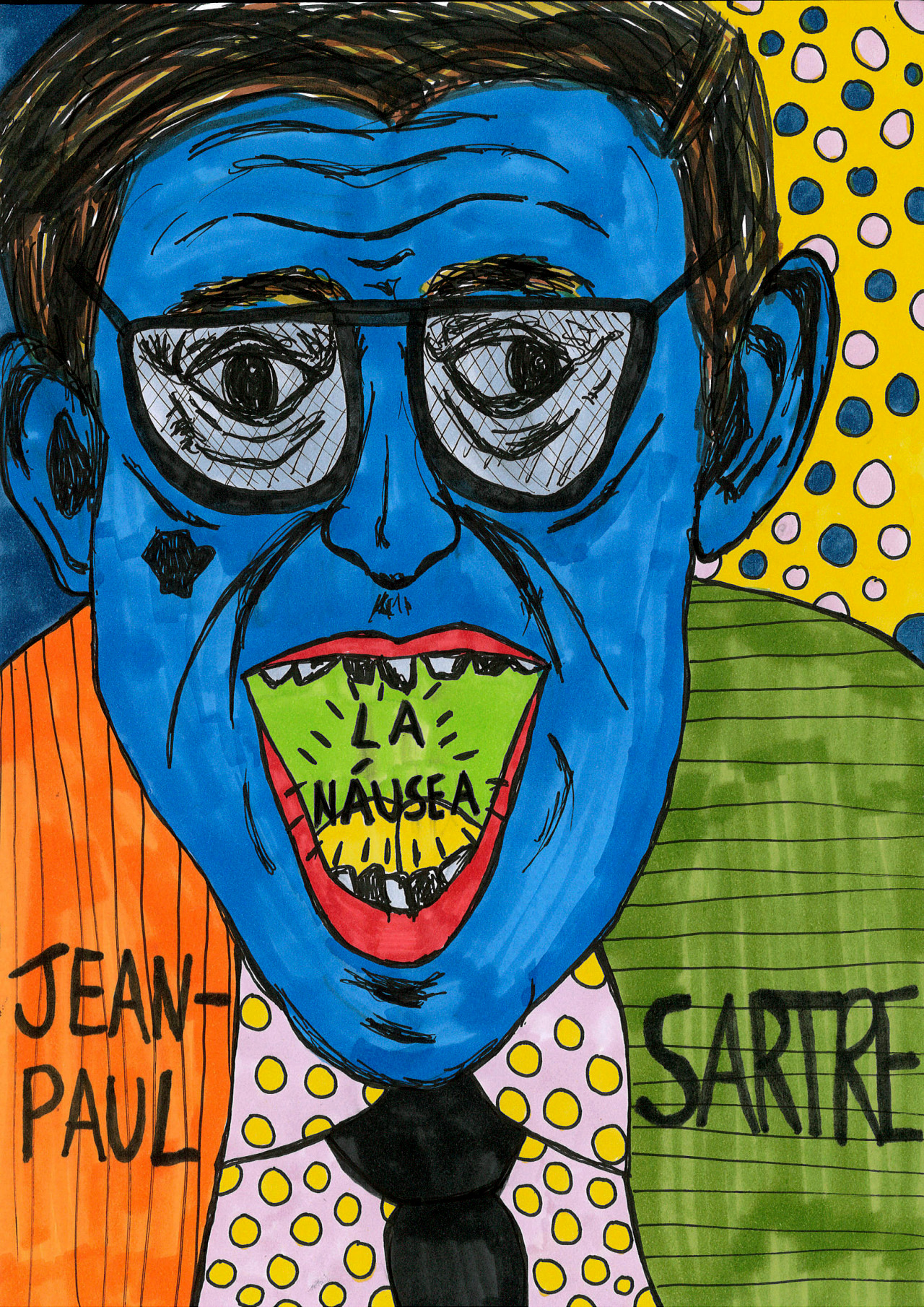 """""""Jean-Paul Sartre"""" , 2013   Marker and pen on paper, 21 x 29.7 cm"""