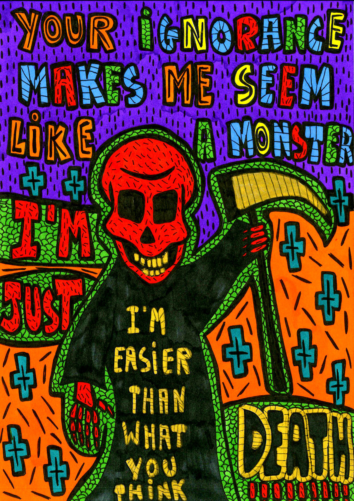 """""""I am just Death!!!"""" , 2013   Marker on paper, 21 x 29.7 cm"""