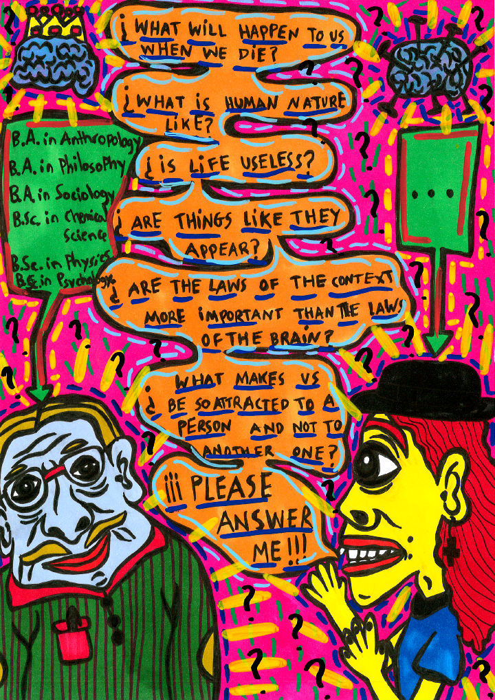 """""""Myself trying that a wise man solves my life..."""" , 2013   Marker on paper, 21 x 29.7 cm"""