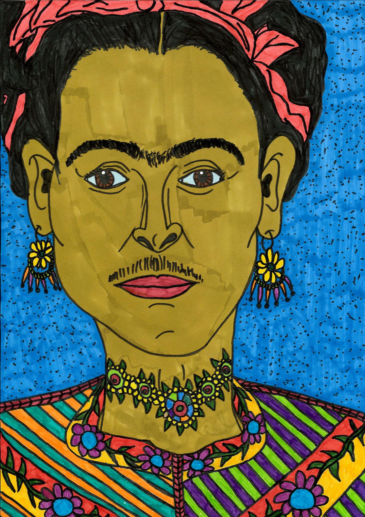 """""""Frida Kahlo"""" , 2013   Maker on paper, 29.7 x 42 cm"""