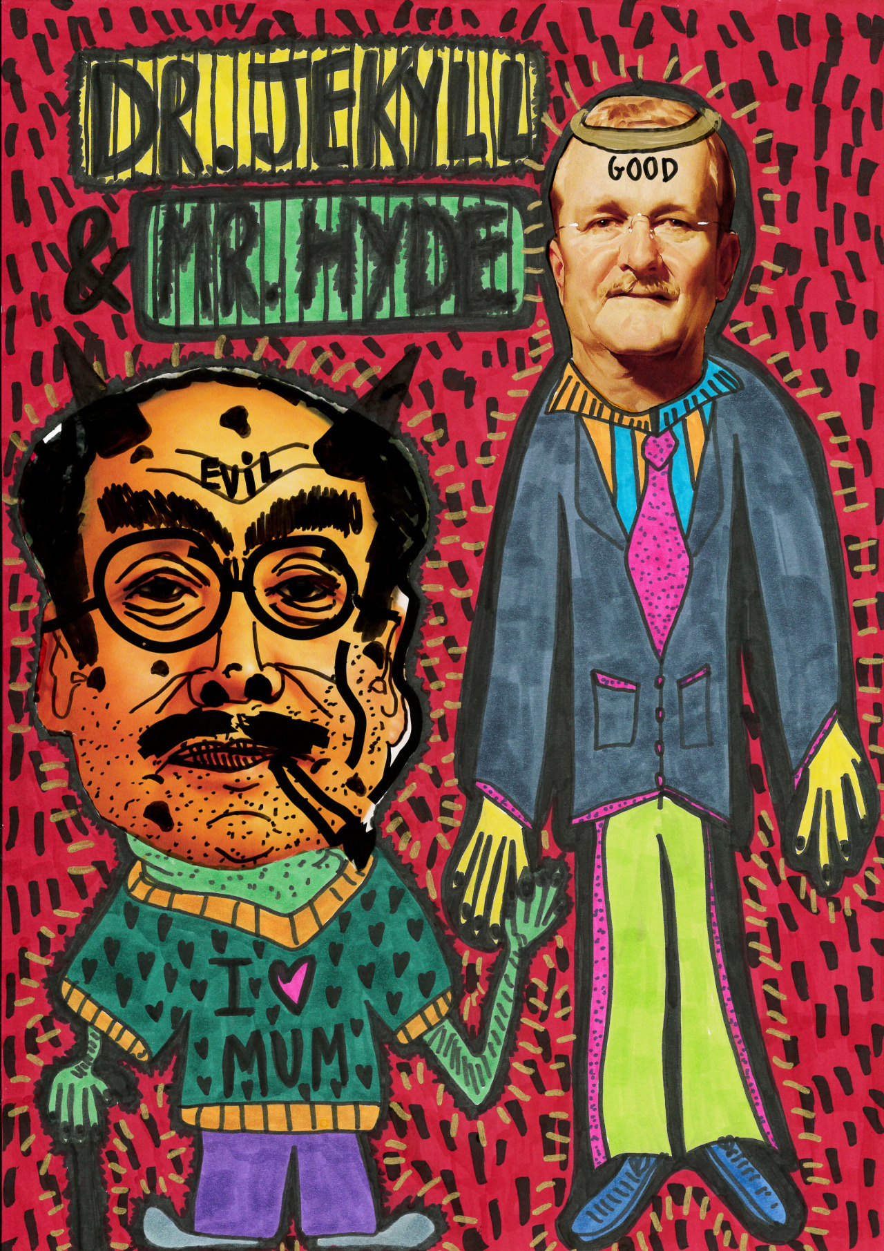 """""""Dr. Jekyll and Mr. Hyde"""" , 2013   Marker and mixed media on paper, 29.7 x 42 cm"""